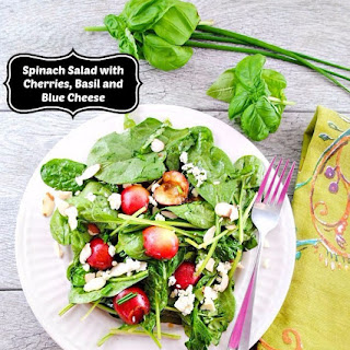 Spinach and Cherry Salad with Basil, Blue Cheese and Almonds
