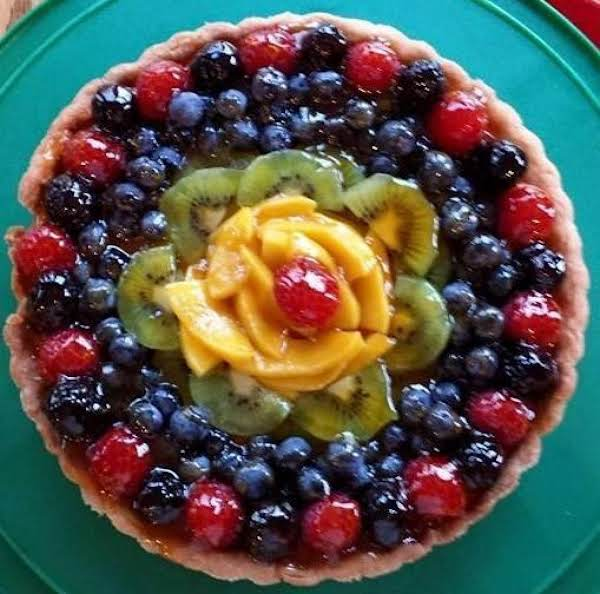 Even Though It's A Lemon Berry Tart - I Like To Use Other Fruits As Well. The Center Of This One Is Mango, And I Also Used Kiwi, Blueberries, Raspberries, And Blackberries.
