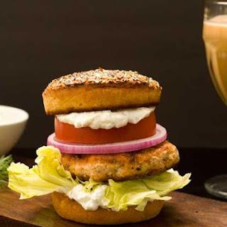 Gluten Free Bagel with Lox Burger