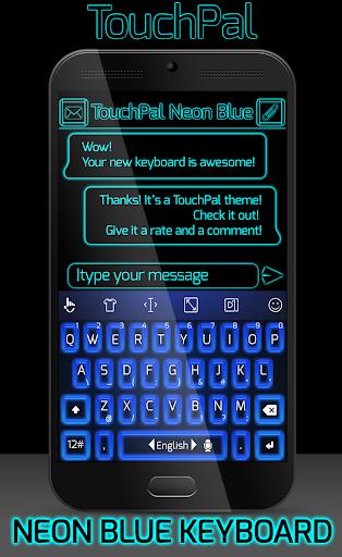 TouchPal Emoji Neon Blue Theme