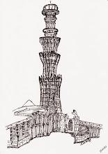 Photo: BauFachForum Ethik:  Der Bau-Wahnsinn aus 1193 auf Wüstenboden. Das für heutige Begriffe, fünfstöckige Kutub Minar, wurde 1193 von Sultan Kutub-ud-Din Aibak aus rotem Sandstein mit einer Höhe von 73 Metern auf Wüstensand errichtet. Ist der Burij Dubau dann heute ein Wunderwerk? Oder ist das Kutub Minar das Wunderwek?  Mehr über Ethik im Innenausbau: http://www.baufachforum.de/index.php?rub_id=3&det_id=388_1