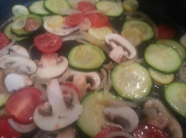 heat olive oil in a non stick pan, add zucchini, onions, mushrooms, tomatoes, sprinkle...