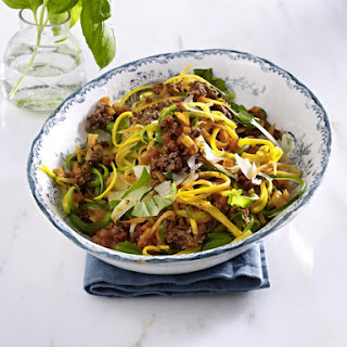 "Vegetable ""Pasta"" with Ground Beef."