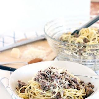 Greek Spaghetti (Spaghetti with Browned Butter, Ground Beef, and Cinnamon).