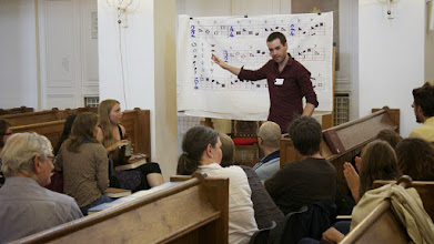 Photo: Explaining the different shape notes: Fa, Sol, La and Mi. Sacred Harp Singing School (Workshop) with Fynn Titford-Mock (Norwich) in Hamburg, August 2013.