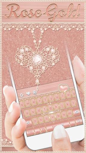 Rose Gold Keyboard Diamond Heart Theme 10001003 screenshots 1