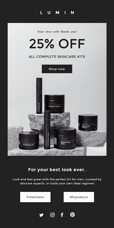 Lumin Skincare Kits - Medium Email Template