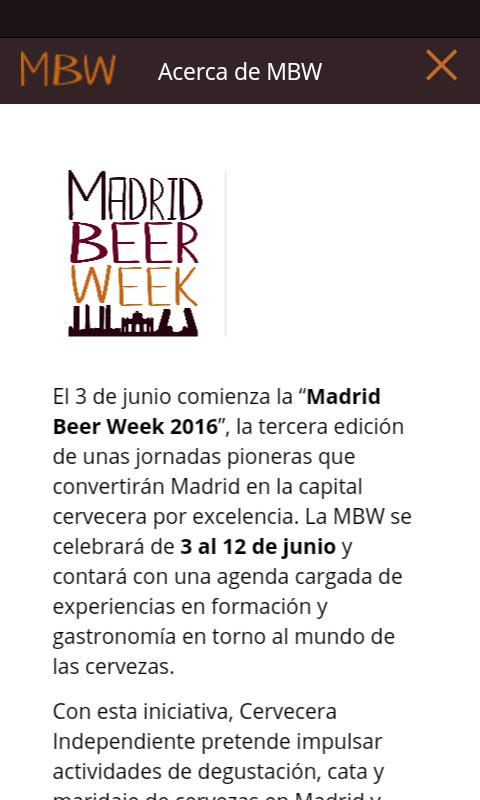 Madrid Beer Week: captura de pantalla