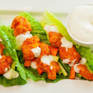 Buffalo Chicken Lettuce Wraps with Blue Cheese Dressing.