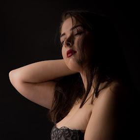 Dreaming away by Ton Hoelaars - Nudes & Boudoir Boudoir ( dreaming, brests, lingerie, woman, portrait )