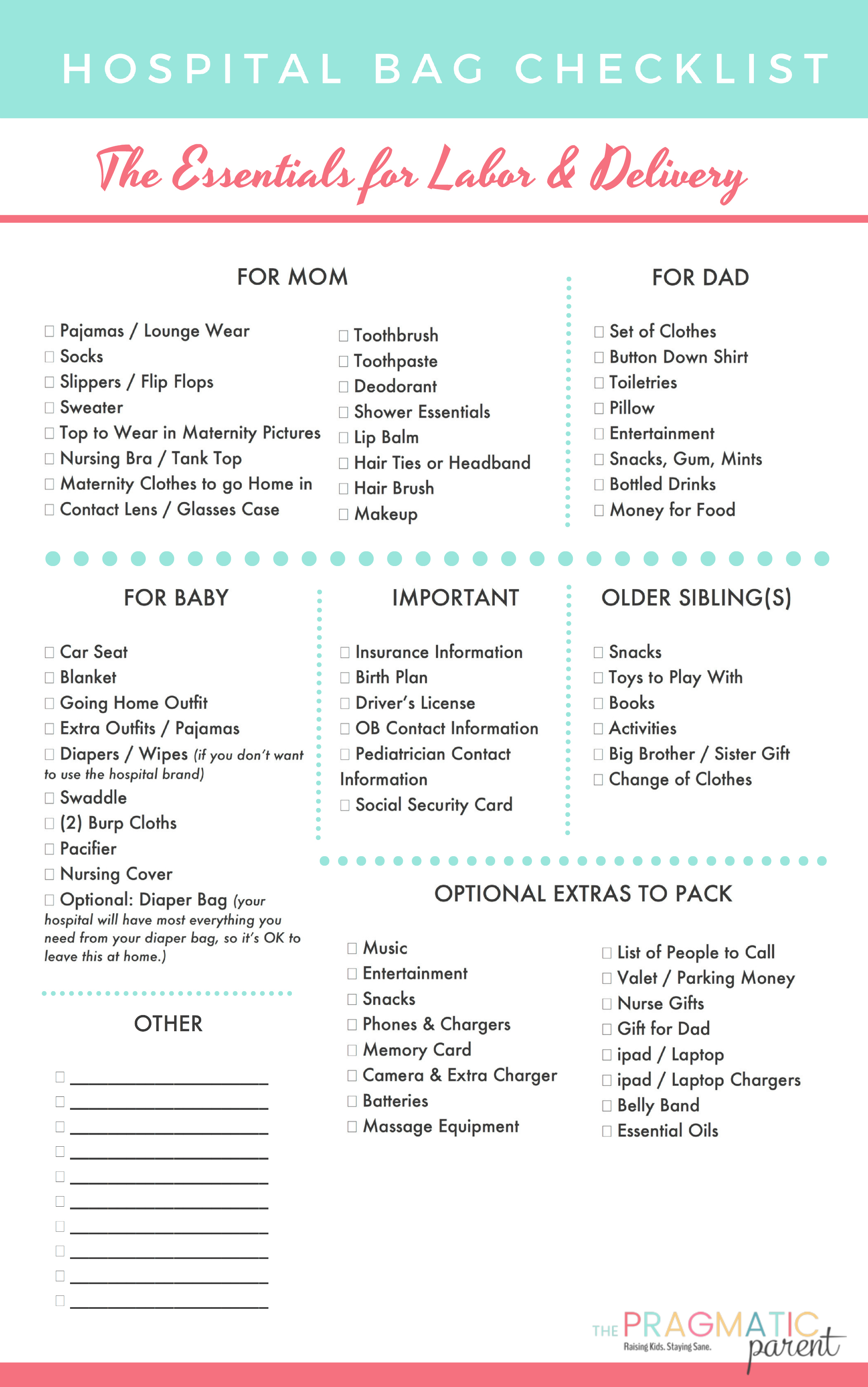 Download Your Hospital Bag Packing List for Labor and Delivery and Hospital Bag Checklist with the Essentials for Labor & Delivery. Printable Labor & Delivery Hospital Bag Checklist. What should I pack for labor? What do I pack in my hospital bag? Here is a FREE Printable Hospital Bag Packing List Checklist