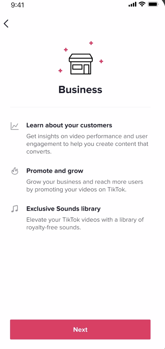 TikTok business account sign up