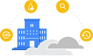 Illustration of a hospital with icons of data refresh, beaker, magnifying glass, and timer