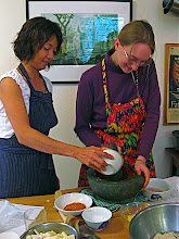 Photo: Jean and Autumn making chilli paste