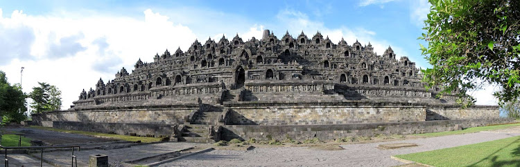 Borobudur Temple, which was built between the 8th and 9th centuries.