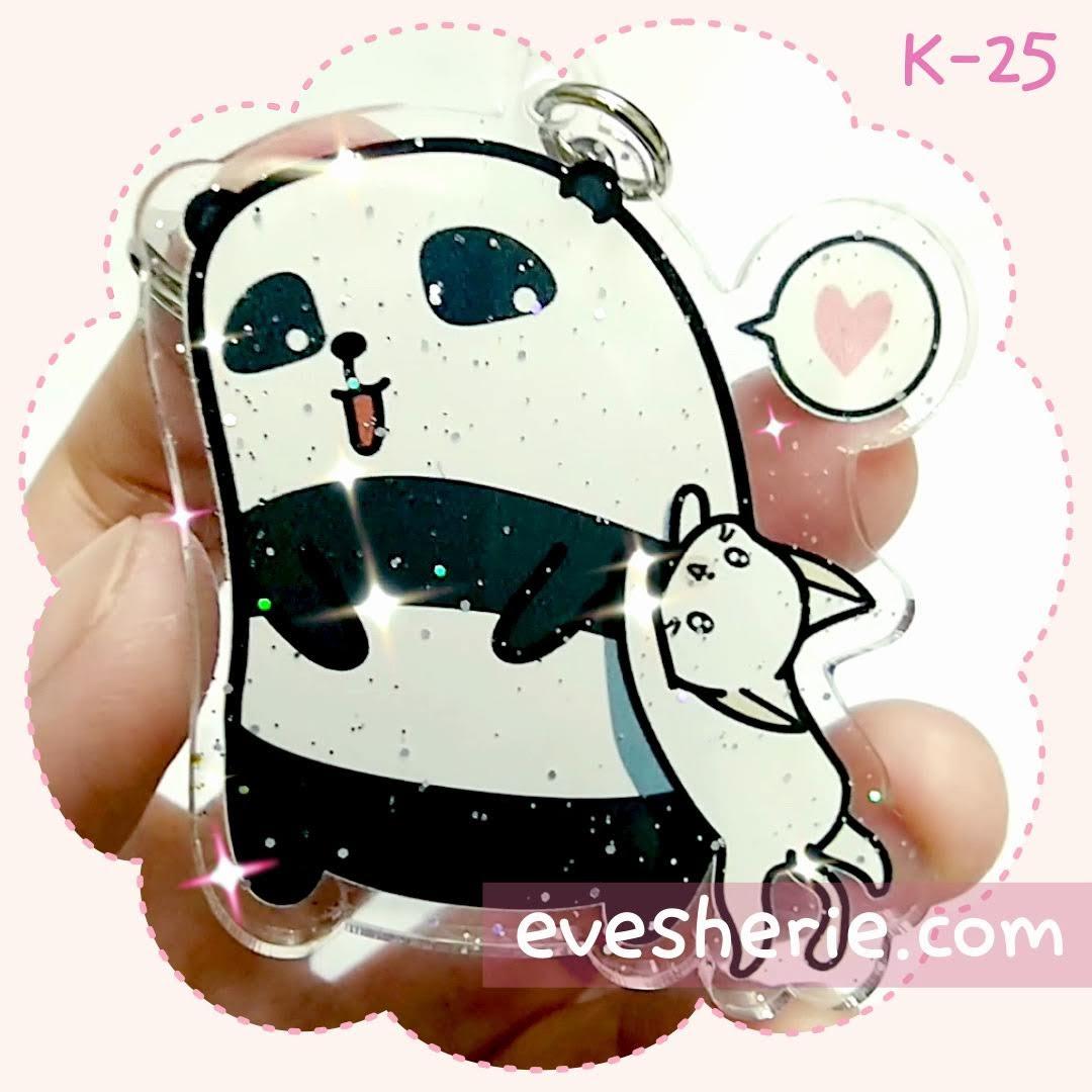 พวงกุญแจ แพนด้า แมว น่ารัก cute panda cat keychain