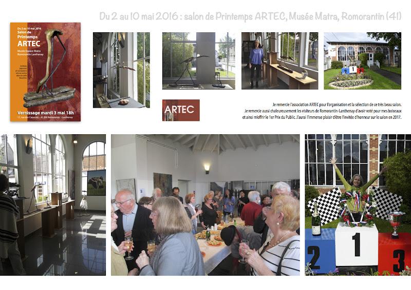 Photo: Je remercie l'association ARTEC pour l'organisation et la sélection de ce très beau salon.   Je remercie aussi chaleureusement les visiteurs de Romorantin-Lanthenay d'avoir voté pour mes boiseaux   et ainsi m'offrir le 1er Prix du Public. J'aurai l'immense plaisir d'être l'invitée d'honneur sur le salon en 2017.
