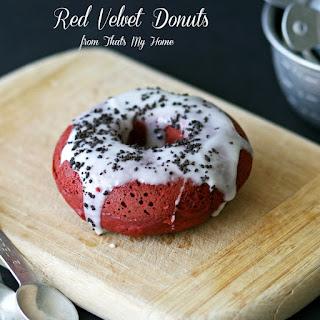 Baked Red Velvet Donuts.