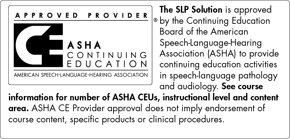 Approved ASHA CEU Provider