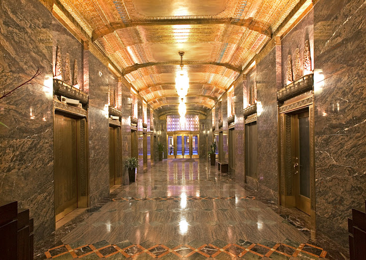An elevator-filled lobby that was supposed to be inspired by an Egyptian tomb.
