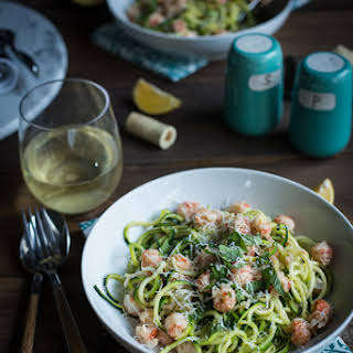 Zucchini Linguine with Langostinos and Lobster Sauce.