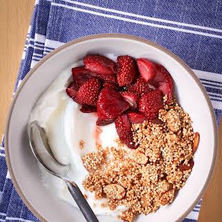 Greek Yogurt With Crispy Quinoa and Roasted Strawberries.