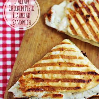 Italian Chicken Pesto Flatbread Sandwich.
