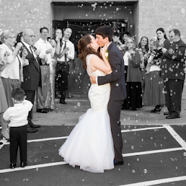 Saying Goodbye by Matthew Chambers - Wedding Bride & Groom ( love, art, color, beauty, wedding, black and white, kiss )