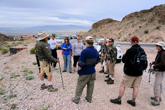 Photo: Wednesday morning, we gather at the base of Frenchman Mountain, just off Nevada highway 147 (Lake Mead Blvd.), just east of Las Vegas.