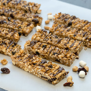Peanut Butter Granola Bars with Dried Cherries.
