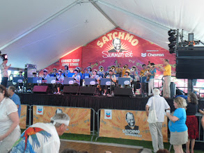 Photo: The Swing Dolphins great Japanese student big band. After the tsunami in 2011, Tipitina's Foundation donated instruments to replace those they had lost in the disaster. Yoshio Toyoma's band played along with them.