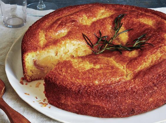 Pear Cornmeal Cake W/rosemary Syrup Recipe