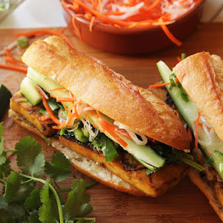 Grilled Lemongrass- and Coriander-Marinated Tofu Vietnamese Sandwiches (Vegan Banh Mi).