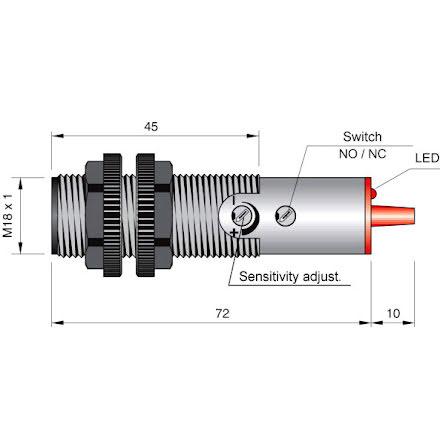 Fotocell mot reflektor, 250cm, NO+NC, 20-250VAC, infraröd