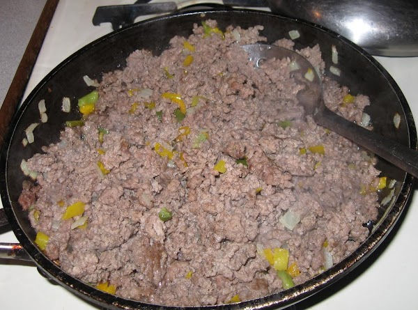 In large skillet add ground beef, diced onion and diced bell pepper and cook...