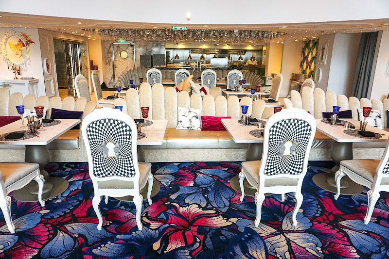 "Wonderland, the ""Alice in Wonderland"" inspired restaurant on Symphony of the Seas."