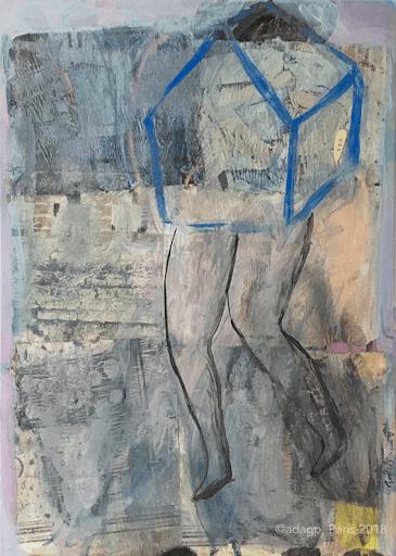 errance-sophie-lormeau-peinture-acrylique-gris-bleu-collage-toile-maison-jambe-enfance-artiste-art-contemporain-figuratif-singulier-colorful-dream-reve-adagp