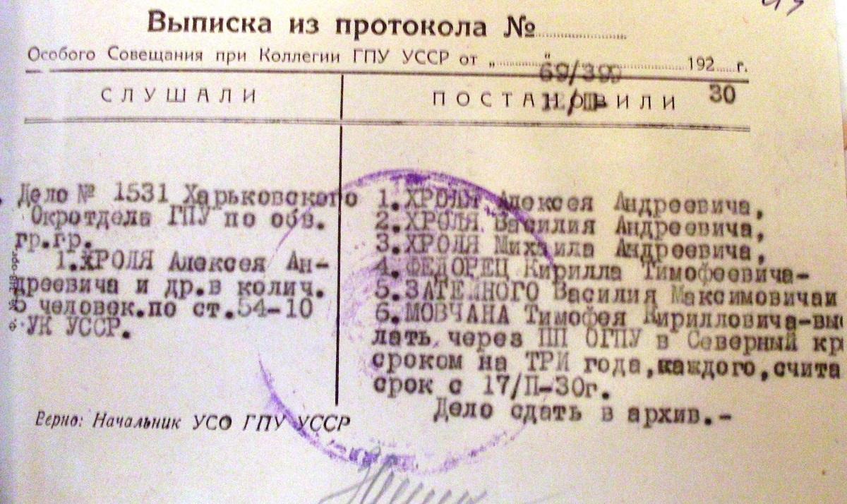 «Гуртове» радянське правосуддя зразка 1930-го: вислали шістьох односельців відразу