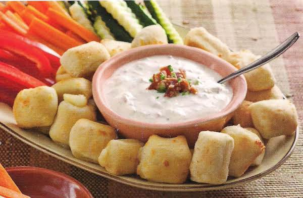 Mozzarella Bites With Green Onion Bacon Dip And Ve