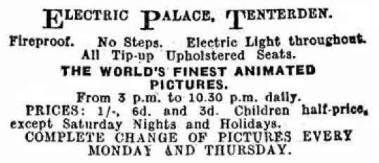 Electric Palace Cinema Tenterden, Cinema Palace