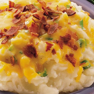 Cheddar, Bacon and Onion Mashed Potatoes.