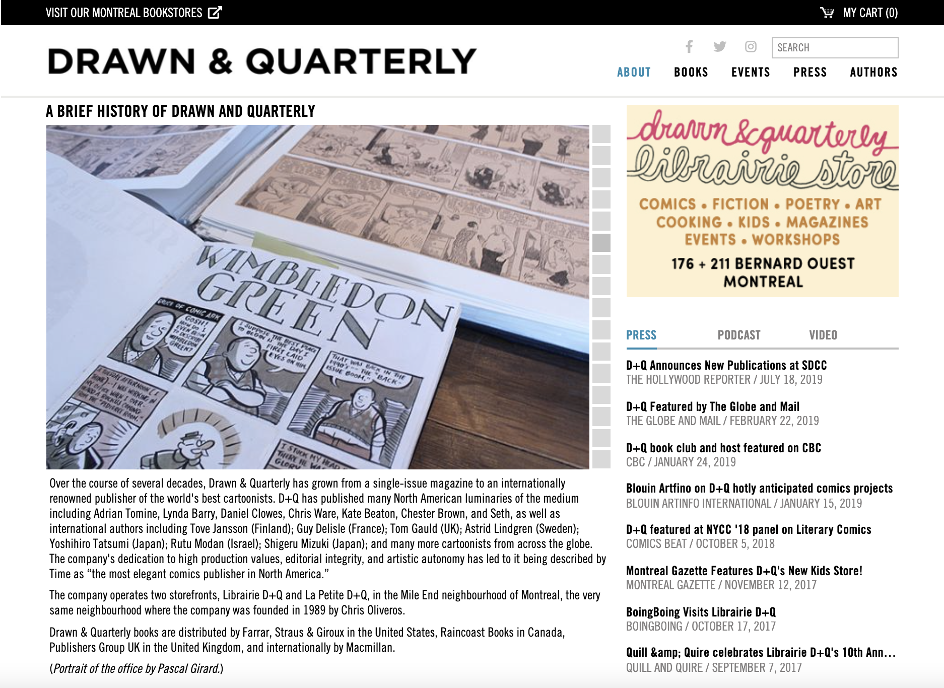 Drawn and Quarterly About Us Page