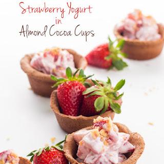 Strawberry Yogurt in Almond Cocoa Cups