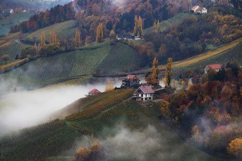 Autumn Morning by Jaro Miščevič - Landscapes Mountains & Hills ( houses, fog, autumn, trees, landscape, morning, colours )