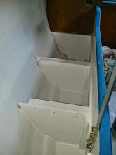Photo: final coat of paint on new bulkheads under pilot berth.