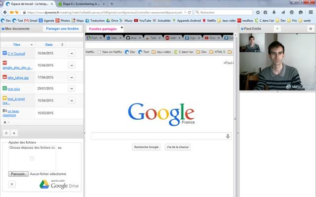 Screensharing in the workspace
