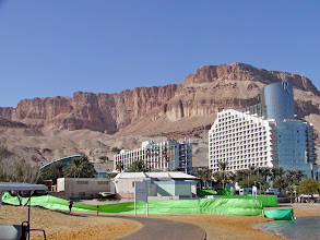 Photo: Rock cliffs are on the back side of the hotels.