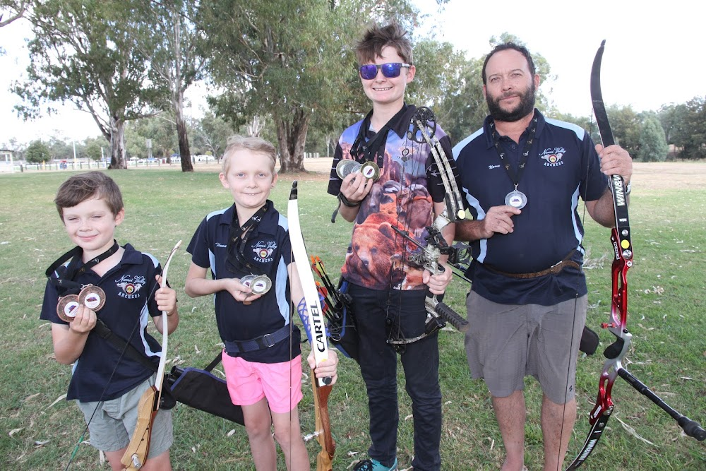 Narrabri's Webster boys, Hamish, Thomas, Callan and father Norm, were winners in recent national archery titles at Alice Springs.