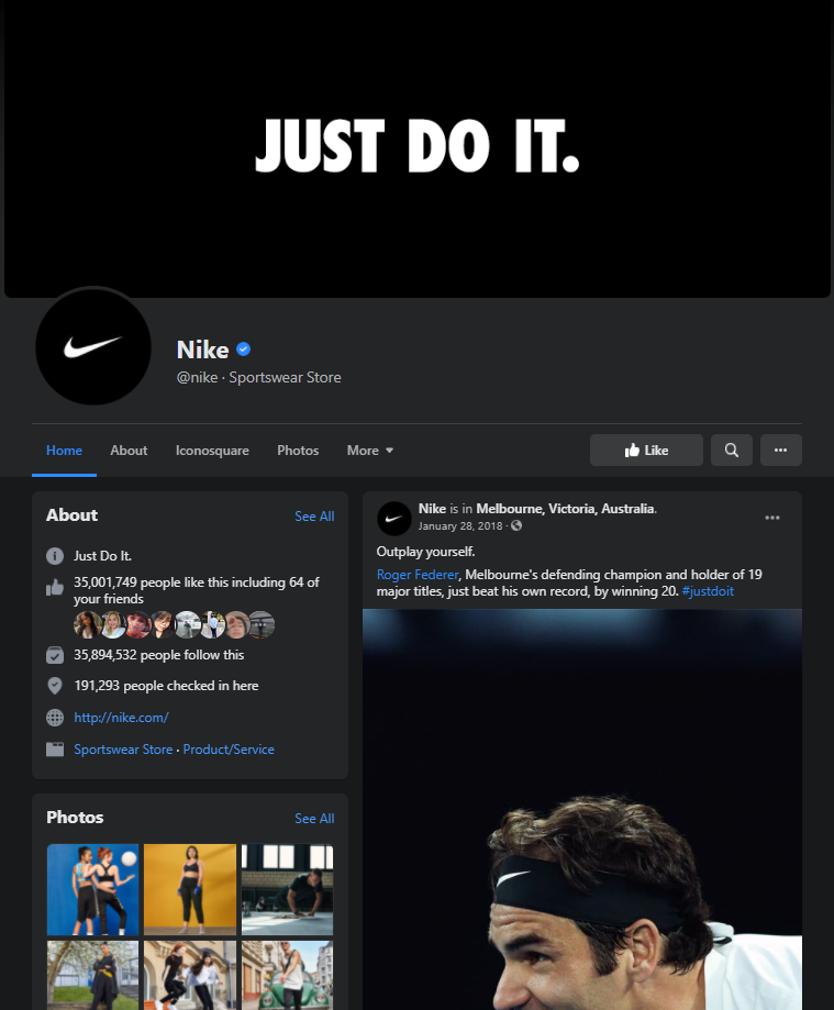 nike facebook page example