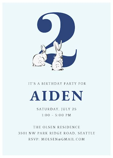 Aiden's 2nd Birthday - Birthday Card Template